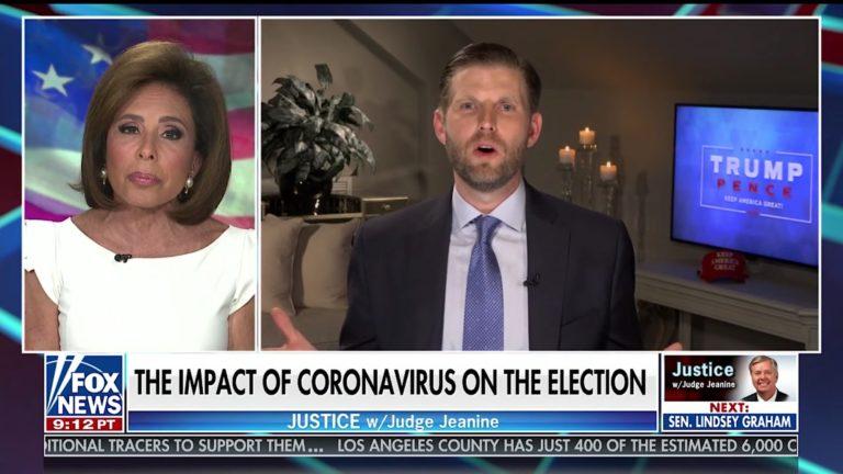 Eric Trump: 'After November 3rd Coronavirus Will Magically All Of The Sudden Go Away'
