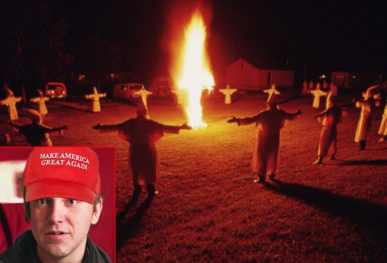 Man in MAGA Hat Burning Cross Says Democrats Are the 'Real Racists'