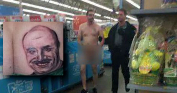 LOTTERY WINNER SHOWS UP NAKED FOR HIS WORK SHIFT AT WALMART WITH BOSS'S FACE TATTOOED ON HIS ASS