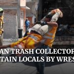 Mexican garbage collectors entertain locals with freestyle wrestling